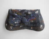 """Stormy cloud""""  Stylish and unique Grey felted clutch purse"""