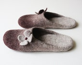 Black Cherry Blossom  Orthopedic wool felted slippers HANDMADE TO ORDER
