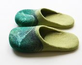 "Everything under the sun "" Felted wool slippers  in yellow and green"