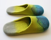 """Acapulco"""" Felted wool slippers with neon yellow and turguoise blue. Unisex adults. Handmade to order"""