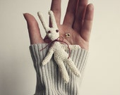 """Marius"""" Crocheted whited natural linen rabbit brooch. Eco friendly toy"""