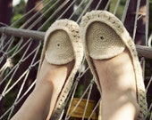 Crocheted home slippers moccasins from natural white organic wool Handmade to Order - Onstail