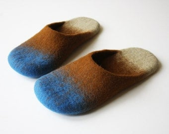 Glow-worm wool felted slippers MADE TO ORDER