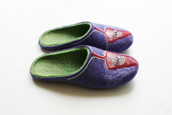 RESERVed  Magic Mushrooms Wool felted slippers Women's size: EU 36-37,  US 6 UK 4