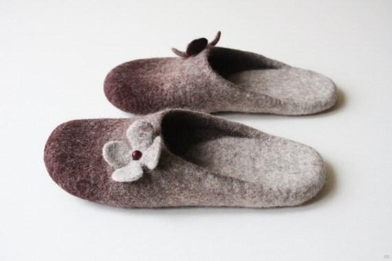 Black Cherry Blossom  Orthopedic wool felted slippers HANDMADE TO ORDER