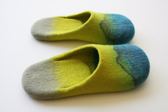 "Acapulco"" Felted wool slippers with neon yellow and turguoise blue. Unisex adults. Handmade to order"