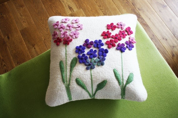 "Sunny home with mom""  Wool felted natural white pillow cover with lovely romantic purple flowers unique and made with delicate love"