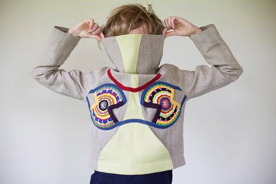 """Owl"""" Original linen  women jacket - hoodie, with African owl motive.  OOAK"""