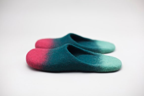 "Peppermint in love with raspberries."" Felted wool slippers HANDMADE TO ORDER"