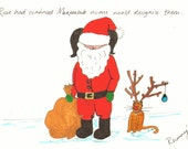 Rosie and Marmalade ORIGINAL Christmas Santa and Rudolph