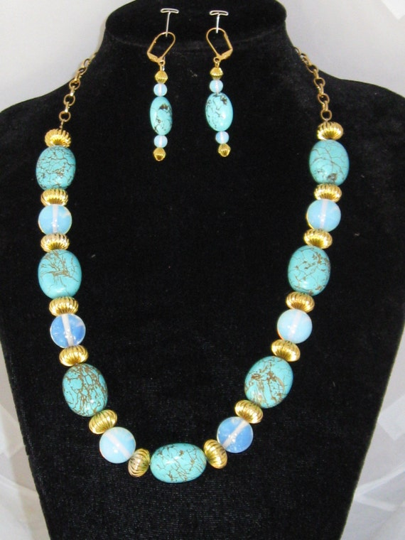 Once Upon A Blue Moon - Turquoise, moonstone necklace & earrings