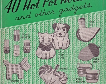 40 Potholder PDF Patterns, Quick Easy Crochet projects to gift and sell, vintage e book