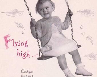 1950's Toddler Cardigan Sweater, PDF Knitting Pattern