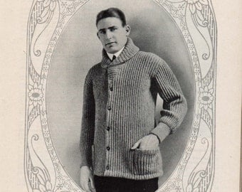 1916 Vintage Mens Sweater, Vintage Collar Crochet Pattern easy & quick download