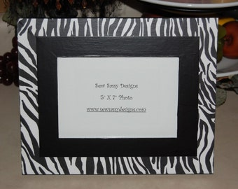 Animal Print Zebra Picture Frame with Color Border