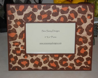 Orange Leopard Wooden Picture Frame