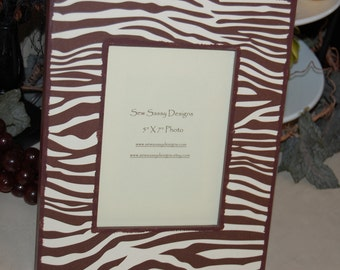 Zebra Print Brown and Beige Wooden Picture Frame