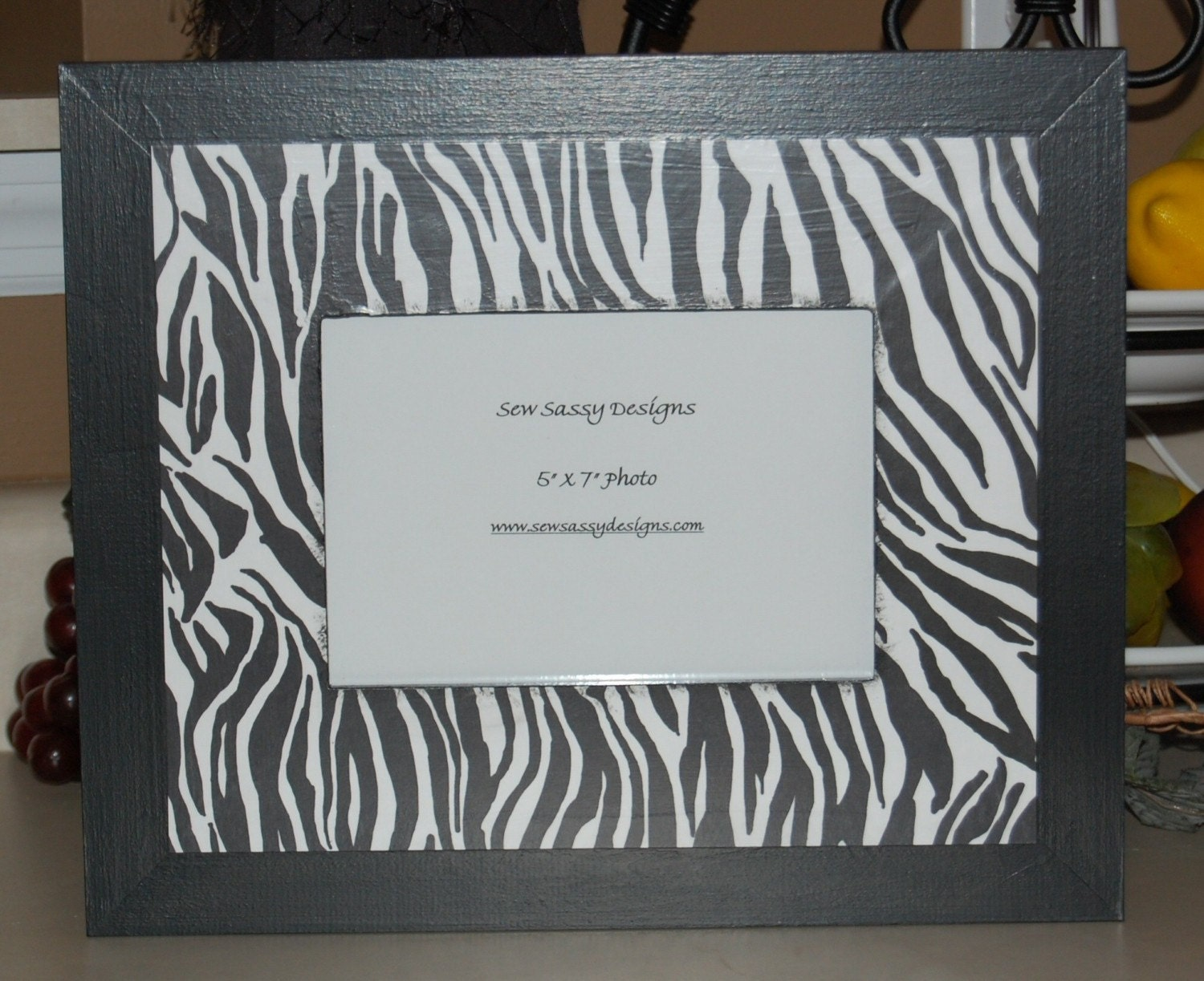 animal zebra print wooden picture frame from