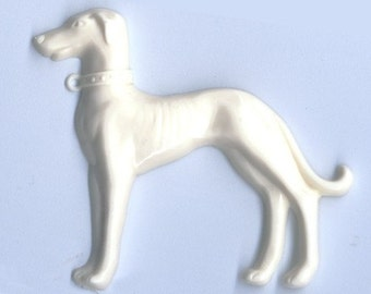 Vintage Flat-Back Ivory Greyhound Motif in Cellulose