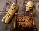 Pirate's Aged Map and Scroll set ooak dollhouse miniature in one inch scale