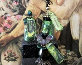 Green Fairy Absinthe Deluxe Potion Bottle Collection OOAK dollhouse miniature in one inch scale