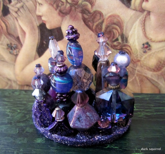 Magical Violet Dresser or Potion Display ooak dollhouse miniature in one inch or 1/6 scale