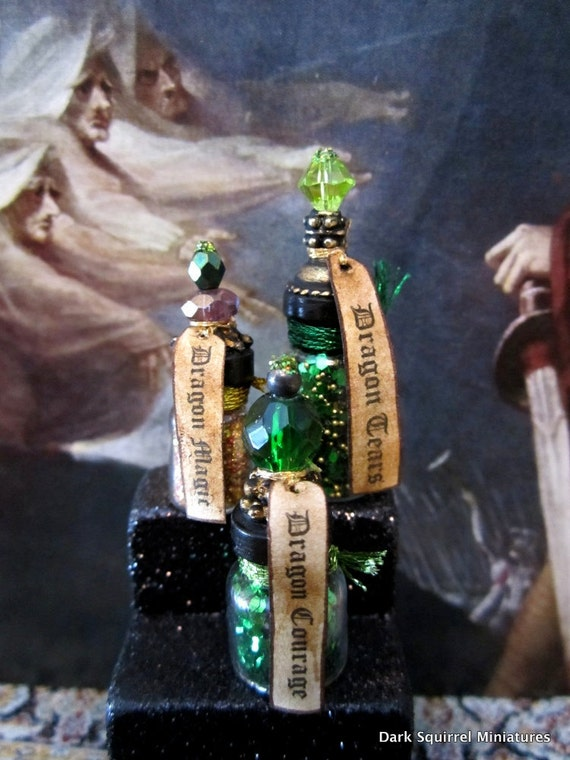 Magical Dragon Potion Bottle set ooak dollhouse miniature in one inch scale