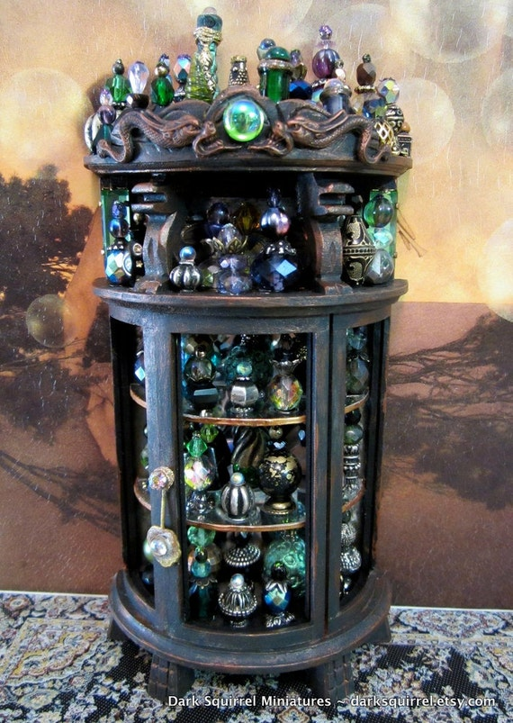 Secret Dragon ooak Potion  Cupboard in 1/12 scale by Dark Squirrel