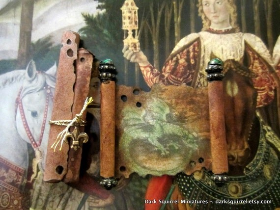 Aged Dragon  Medieval Scroll set dollhouse miniature in one inch scale