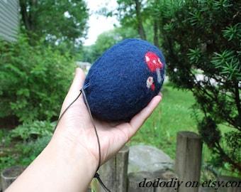 wool felted wristlet purse  -- Mushroom