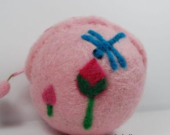 Wool Felted Coin Purse --- Flowers & Dragonfly