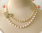 Vintage Gold Bow Double Pink and Natural Glass Pearl Asymmetrical Necklace