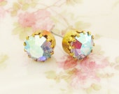 Vintage Iridescent Blue Purple Faceted Glass Rhinestone Gold Tiffany Setting Post Earrings