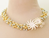 Vintage Creamy White Celluloid Rhinestone Flower Asymmetrical Aqua and Gold Glass Pearl Statement Necklace