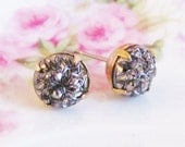 Black Hematite Post Earrings - Vintage Black Hematite Textured Glass Sparkle Jewel Post Earrings - Bridesmaid, Wedding, Bridal