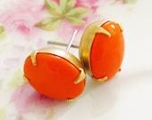 Vintage Tangerine Orange Chunky Oval Glass Jewel Surgical Steel Post Earrings