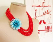 Vintage Enamel Flower Necklace Turquoise Chrysanthemum Asymmetrical Triple Strand Cherry Red Beaded Statement Necklace OOAK