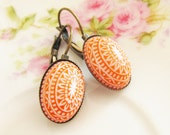 Tangerine Orange Mosaic Earrings -Vintage Tangerine Orange and White Mosaic Bohemian Antique Brass Earring Drop Dangles