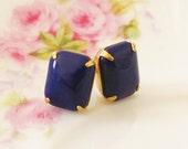 Navy Blue Post Earrings - Vintage Navy Blue Jewel Brass Setting Surgical Steel Post Earrings - Preppy, Wedding, Bridal, Bridesmaid Stud s