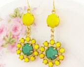 Vintage Apple Green and Lemon Yellow Rhinestone Jewel Flower Dangle Earrings