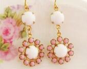 Vintage Pale Pink and Milky White Glass Rhinestone Jewel Flower Dangle Earrings