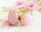 Bubblegum Pink Earrings - Chunky Vintage Oval Glass Jewel Surgical Steel Post Earrings - Bridesmaid, Wedding, Bridal, Preppy