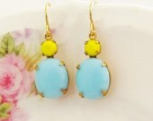Vintage Aqua Blue Jewel Sunny Yellow Faceted Rhinestone Glass Dangle Drop Earrings