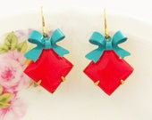 Vintage Cherry Red Square Glass Jewel and Turquoise Teal Blue Enamel Bow Earrings