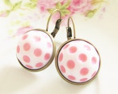 Vintage Pale Pink and White Polka Dot Bohemian Antique Brass Earring Drop Dangles