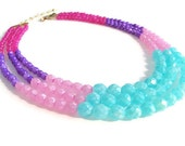 Color Block Necklace Multi Strand Aqua Blue and Pink Faceted Czech Glass, Plum Purple Moonstone, Raspberry Pink Dyed Jade Beads