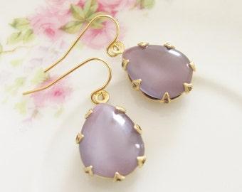 Vintage Lavender Purple Teardrop Moonstone Jewel Gold Crown Setting Gold Plated Dangle Earrings