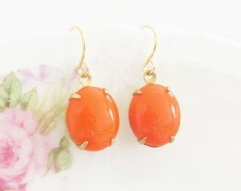 Petite Tangerine Orange Earrings - Vintage Glass Jewel Dangle Earrings - Gold Plated Surgical Steel Earwires - Wedding, Bridal, Bridesmaid