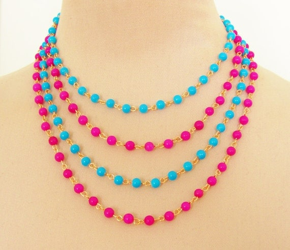 Turquoise Blue and Fuschia Pink Multi Chain Beaded Statement Necklace