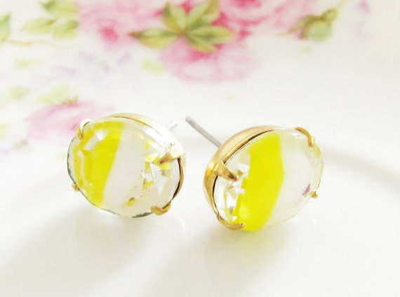 Chunky Vintage Rhinestone Yellow and White Striped Givre Surgical Steel Post Earrings